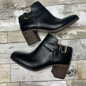Franco sarto stacked heel black leather boots